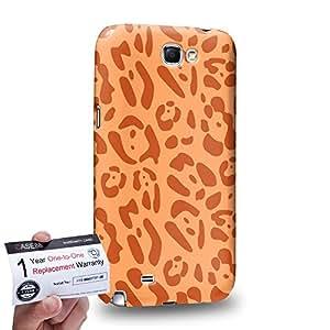 Case88 [Samsung Galaxy Note 2] 3D impresa Carcasa/Funda dura para & Tarjeta de garantía - Art Fashion Orange Leopard Multi Colored Animal