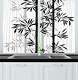 Ambesonne Tree of Life Kitchen Curtains, Silhouette of Spiritual Bamboo Tree Leaves Japanese Zen Feng Shui Boho Image, Window Drapes 2 Panels Set for Kitchen Cafe, 55 W X 39 L Inches, Black White
