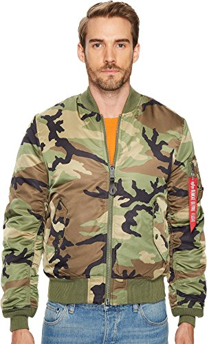 Alpha Industries Women's MA-1 Slim Fit Jacket, Woodland Camo, Medium (Woodland Nylon Jacket Reversible Camo)