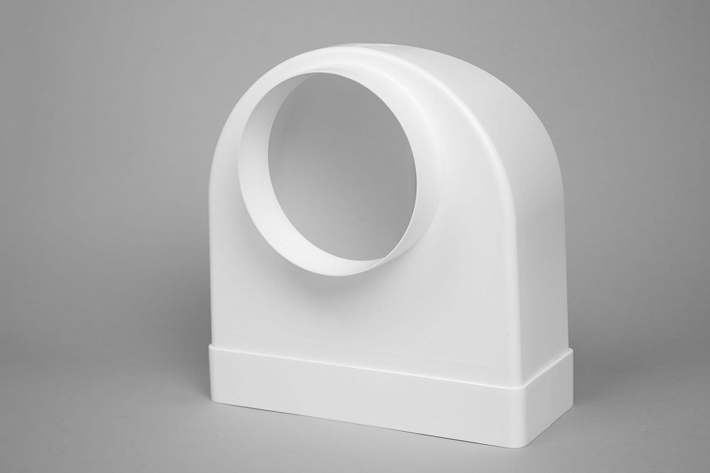 /plastique blanc Naplesuk 220/mm x 90/mm Megaduct Plat canal Conduit 90//° Bend vers ronds 125/mm/