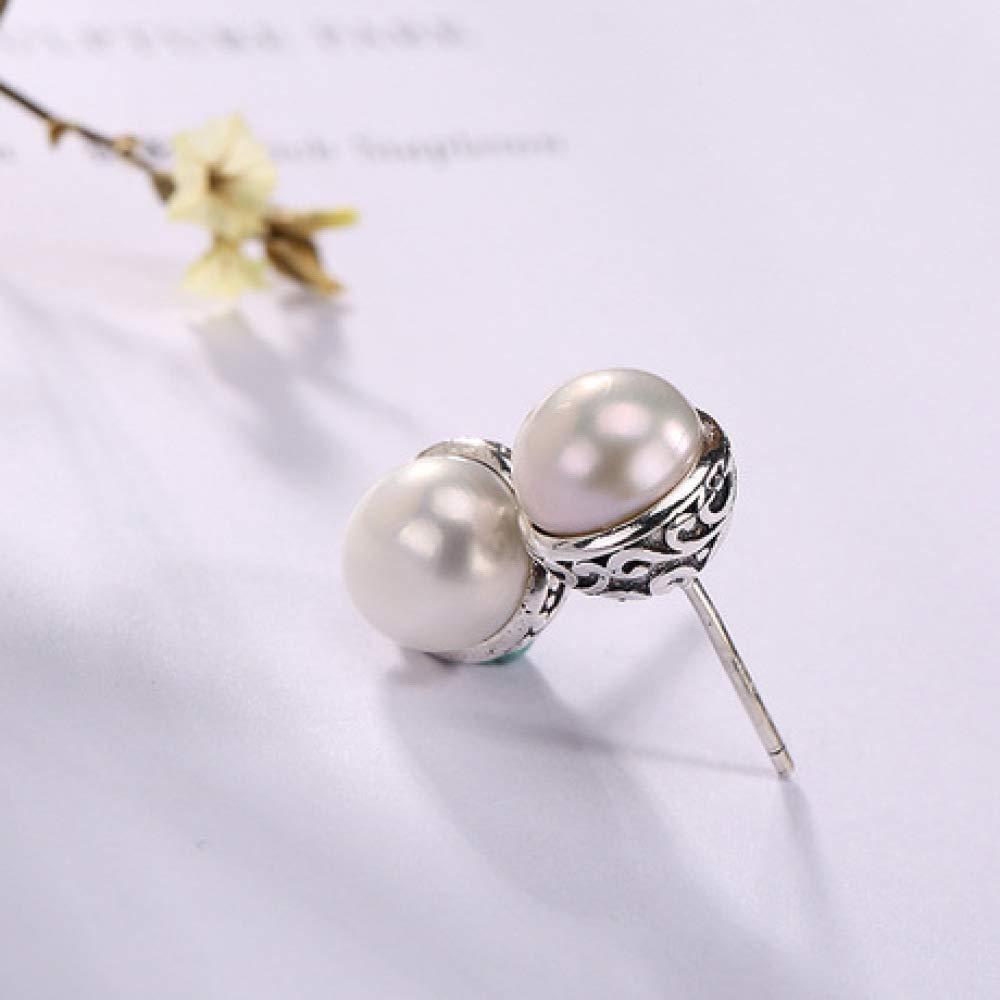 Weiduoli S925 Sterling Silver Inlay Pearl Vintage Pattern Womens Stud Earrings Joker Earrings