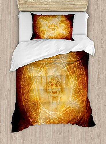 Ambesonne Horror House Duvet Cover Set Twin Size, Demon Trap Symbol Logo Ceremony Creepy Scary Ritual Fantasy Paranormal Design, Decorative 2 Piece Bedding Set with 1 Pillow Sham, Orange by Ambesonne