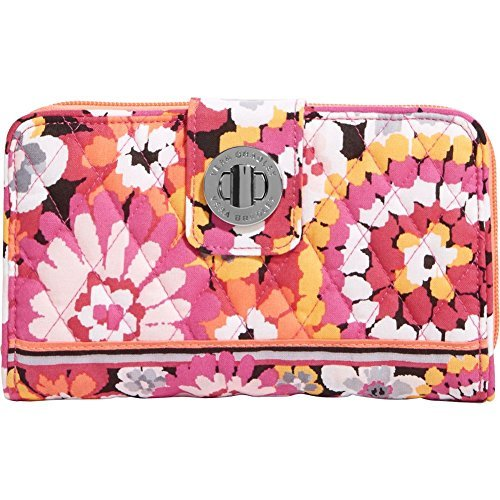 Vera Bradley Womens Turn Lock Wallet Pixie Blooms Checkbook Wallet