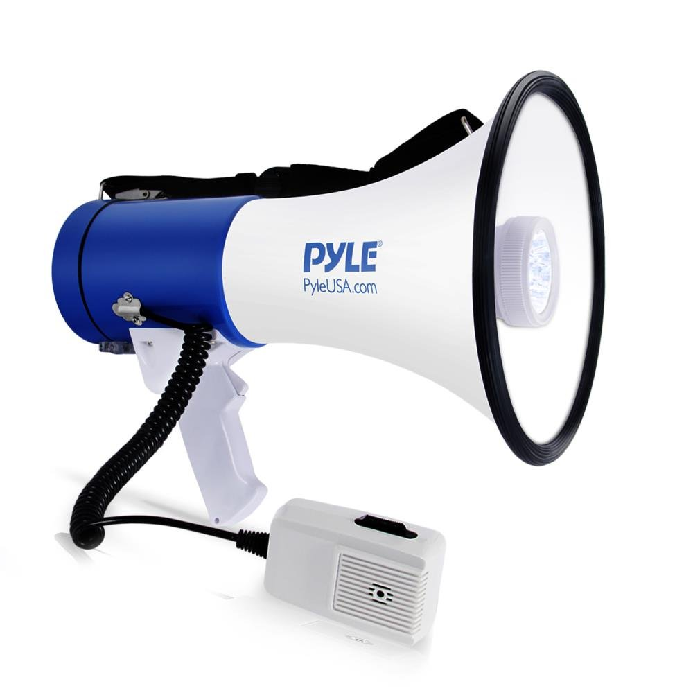 Pyle Portable Compact PA Megaphone Speaker w/ LED Flashlight, Alarm Siren, Adjustable Volume, 50W Handheld Lightweight Bullhorn w/ Detachable Mic, Battery Powered, For Indoor Outdoor Use (PMP51LT) Sound Around