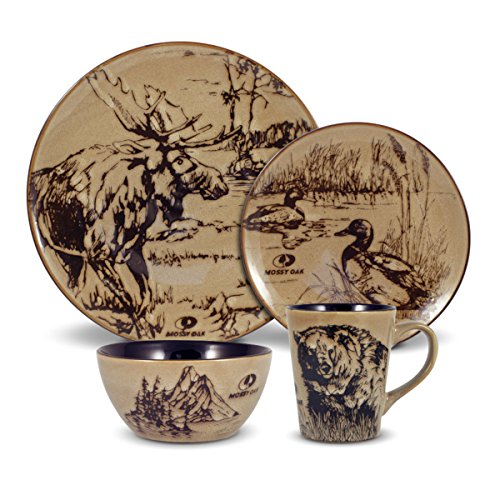 Mossy Oak 5137679 Animal Print Dinnerware Set,