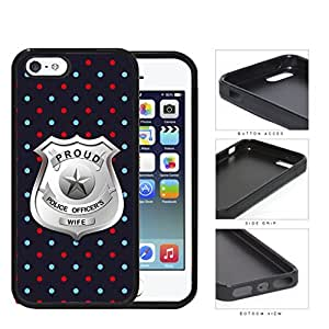 Proud Police Officer's Wife Red Blue Polka Dots Rubber Silicone TPU Cell Phone Case Apple iPhone 5 5s