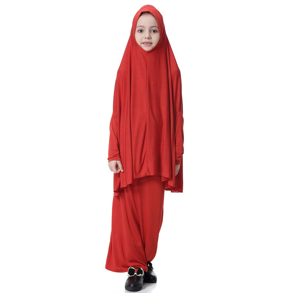 Muslim Islamic Girl's Abayas and Jilbabs Full Length Dresses+Hijab 2pcs Prayer Dress Abaya Set Hajj Umrah, MITIY Red by MITIY Muslim Clothes