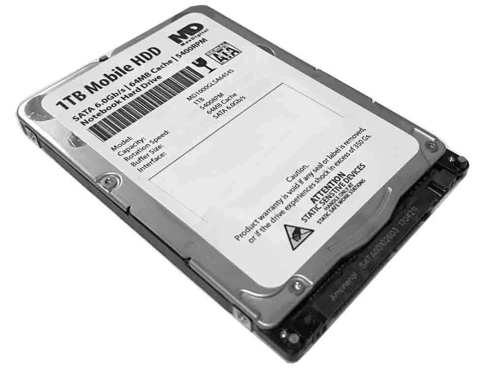 MaxDigitalData 1TB 5400RPM 64MB Cache (7mm) SATA 6.0Gb/s 2.5inch Mobile HDD/Notebook Hard Drive - 2 Year Warranty