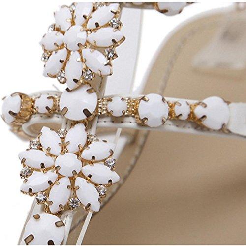 Donna Luo Scarpa Estivi comode Sandali Strap Catena Piatta Infradito Splendente T Eleganti Donna Bianco Sandali Beauty Donna Estate Strass Scarpe dSqwWxXX1z