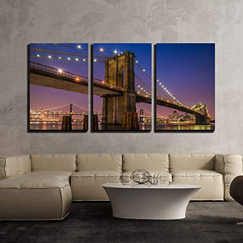 (wall26 - 3 Piece Canvas Wall Art - Brooklyn Bridge at Twilight in New York City - Modern Home Decor Stretched and Framed Ready to Hang - 24