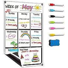 """DOEWORKS 17""""x11"""" Magnetic Dry Erase Refrigerator Weekly Calendar Set, Fridge Magnetic Calendar with 6 Markers & Eraser"""
