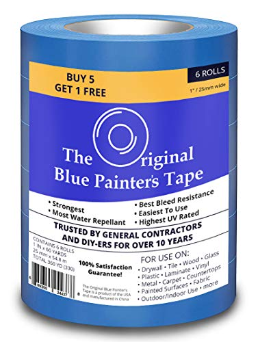 Blue Painters Tape 6 Pack, The Original Blue Painters Tape 1 Inch Wide, for Use On All Surfaces Including Walls, Tile, Wood, Glass and More. Total Coverage of 1,080 Feet
