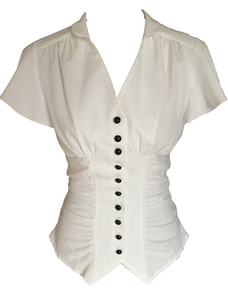 Ivory White Vintage 40s Retro Steampunk Gothic Victorian Button Gathered Blouse Top