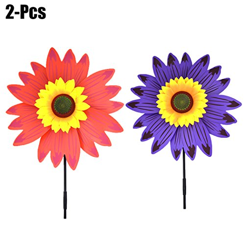 Funpa 2PCS Kids Plastic Pinwheel Party Flower Pinwheel 3D Sunflower Toy Windmill Outdoor Wind Spinner by Funpa