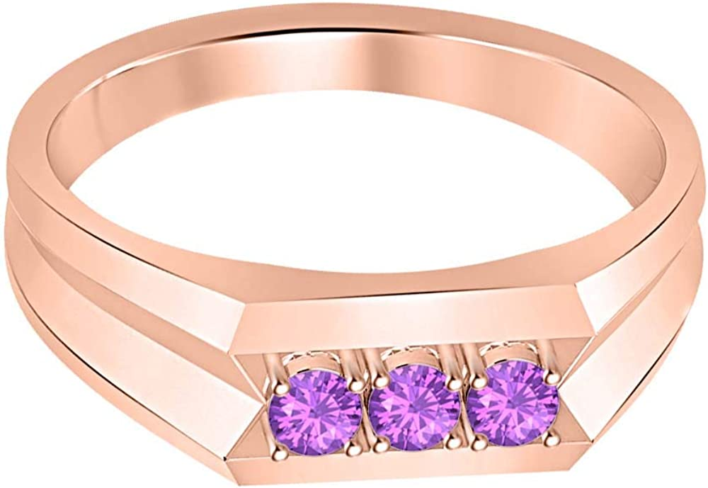 RUDRAFASHION 14k Rose Gold Plated Round Cut Purple Amethyst 925 Sterling Silver Mens Anniversary Band Ring