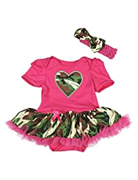 Valentine Camouflage Heart Hot Pink Bodysuit Girl Clothing Baby Dress Nb-18m