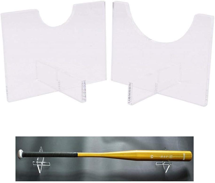 Yester 2 soportes de bate de b/éisbol con soporte de sabre l/áser horizontal para bate de b/éisbol de b/éisbol transparente duradero de acr/ílico para bate de b/éisbol