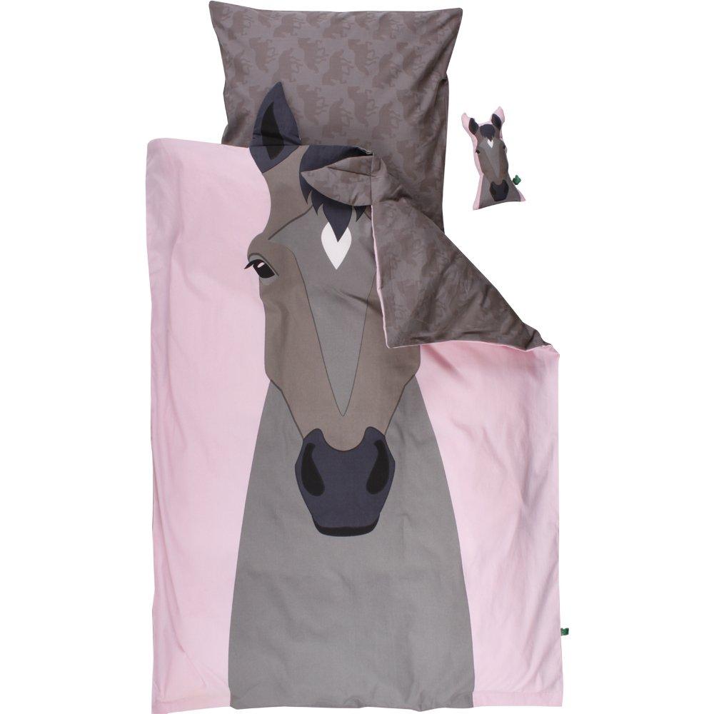 Green Cotton Babybettwäsche Pferd grau rosa 40 x 60 100 x 135 cm