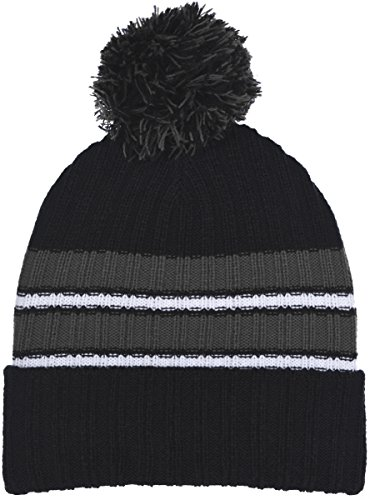 (Polar Wear Boy's Cuffed Knit Hat with Pom and Stripes in 6 Color Combinations (Black - Gray))