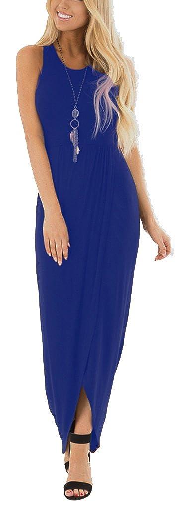 bluee Lunaya Womens Sleeveless Hem Slit Ruched High Low Solid Simple Casual Maxi Dress