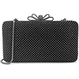 Dexmay Bling Rhinestone Crystal Clutch Purse Bow Clasp for Bridesmaid Wedding Party Women Evening Bag Pewter