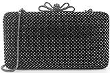 Dexmay Bling Rhinestone Crystal Clutch Purse Bow Clasp for Bridesmaid Wedding Party Women Evening Bag Pewter