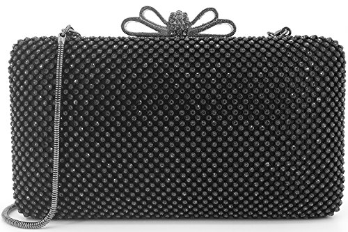 Dexmay Bling Rhinestone Crystal Clutch Purse Bow Clasp for Bridesmaid Wedding Party Women Evening Bag Pewter by DEXMAY DM