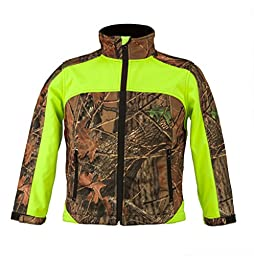 Trail Crest Kid\'s Camo & Neon Colors Custom Soft Shell Waterproof Jacket, Small, Green & Camo