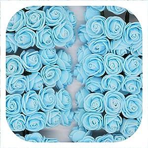 Memoirs- 36/72/144Pcs 2Cm Decorative Teddy Bear Rose Pe Foam Artificial Flower Bouquet for Home Wedding Decoration DIY Wreath Fake Flower,Light Blue,144Pcs 36