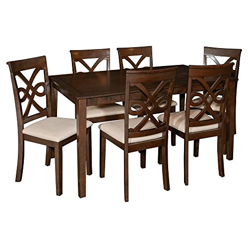Powell Leighton Collection D1026D16 7-Piece Dining Set with Dining Table and 6 Side Chairs in Dark Smoked