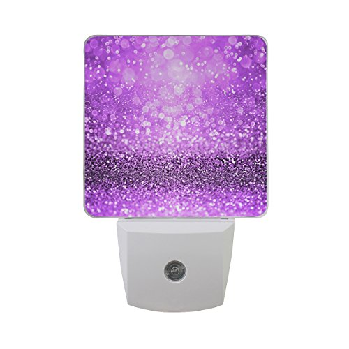 Naanle Set of 2 Modern Sparkling Purple Glitter Sparkle Girly Spooky Halloween Magic Royal Princess Girl Dance Theme Design Auto Sensor LED Dusk to Dawn Night Light Plug in Indoor for Adults]()
