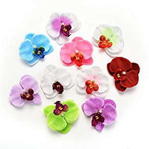 Fake flower heads in Bulk Wholesale for Crafts Outdoor Fashion Orchid Artificial Flowers DIY Butterfly Orchid Cloth Fake Flowers Bouquet Party Wedding Decoration Artificial Flowers 30pcs 6.5cm 79