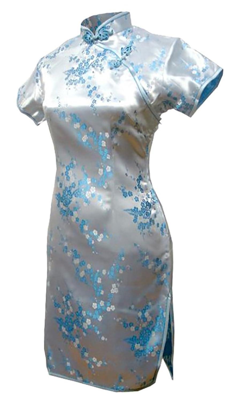 7Fairy Women's Light Blue Chinese Evening Dress Cheongsam Mini Floral