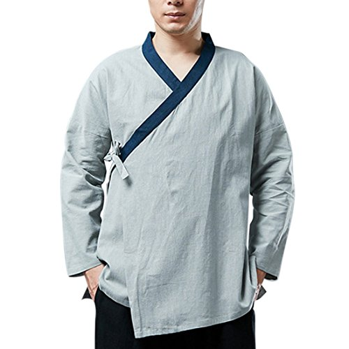 estilo Warp azul Sleve claro lino moichien chino Tradition Top Ai camiseta Men Long 100 7n0zzIqw