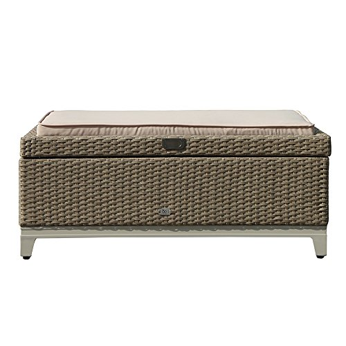 OC Orange-Casual Outdoor Storage Box Wicker Storage Bench Fully Assembled Resin Deck Box with Seat Cushion, Aluminum Frame, Tan Rattan and Beige Cushion (Garden Assembled Fully Furniture)