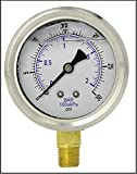 NEW STAINLESS STEEL LIQUID FILLED PRESSURE GAUGE WOG WATER OIL GAS 0 to 30 PSI LOWER MOUNT 0-30 PSI 1/4'' NPT 2.5'' FACE DIAL FOR COMPRESSOR HYDRAULIC AIR TANK