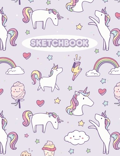 """Sketchbook: Cute Unicorn: 120 Pages of 8.5"""" x 11"""" Blank Paper for Drawing, Sketching and Doodling (Sketchbook for Kids)"""