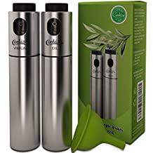 Olive Oil and Vinegar Sprayer Set by Cookisy for Portion Control Cooking and Baking, Includes Silicone Funnel (3 pcs)