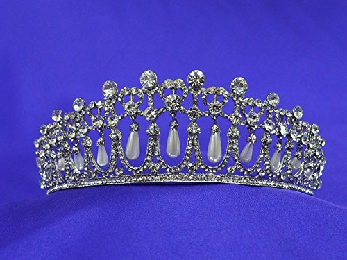 (Princess Diana Cambridge Love Knot Replica Wedding Rhinestone Crystal Pearl Tiara Crown DA4)