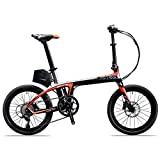 """Image of SAVADECK E6 Electric Bicycle Carbon Fiber 20"""" Folding E-bike 36V / 250W Pedal-assist Pedelec Foldable Bicycle with SHIMANO SORA 9 Speed and Removable 36V/ 5.8Ah SAMSUNG Li-ion Battery"""