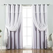 Best Home Fashion Mix & Match Tulle Sheer with Attached Valance & Solid Blackout Curtain Set – Stainless Steel Nickel Grommet Top – Lilac – 52 W x 84 L – (2 Curtains and 2 Sheer curtains)