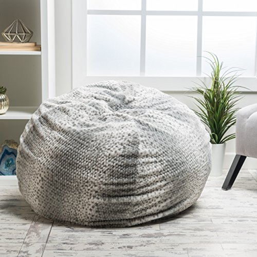 Meridian Bean Bag Chair | Plush Faux Fur Chair | Comfortable and Fun Beanbag for the Whole Family| Non-Spill Memory Foam Filling (Silver Dusk) by GDFStudio