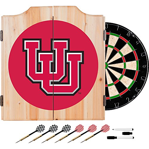 NCAA University of Utah Wood Dart Cabinet Set
