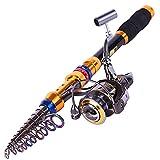 Sougayilang Portable Telescopic Fishing Rod and Reel Combos Travel Spinning Fishing Pole Kits (2.1m/6.69ft+DK2000)