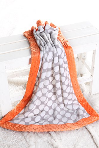 Playful Border - Bacati Playful Foxs Blanket, Grey Dots with Orange Border