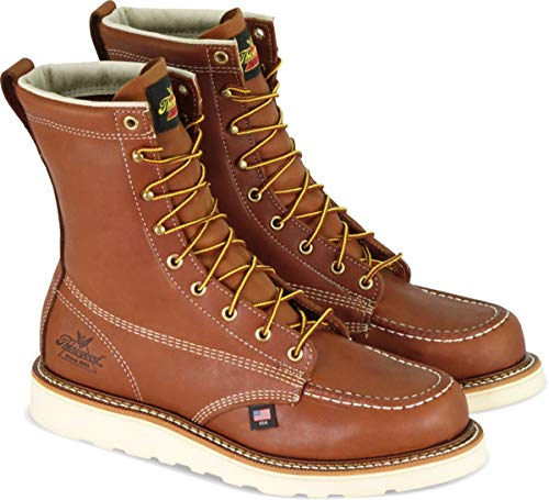 "Thorogood 804-4208 Men's American Heritage 8"" Moc Toe, MAXwear Wedge Safety Toe, Tobacco Oil-Tanned - 8 D US"