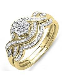 0.40 Carat (ctw) 14k Gold Round Diamond Ladies Bridal Ring Engagement Matching Band Set