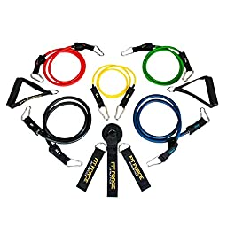 BEST RESISTANCE BANDS Exercise Equipment Workout Set (15 Pcs) - Home Gym Exercise Bands For Travel, Rehab, Crossfit, Pilates, & Physical Therapy - Comes With A BEAUTIFUL GIFT BOX