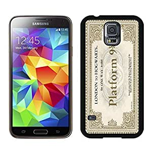 Classic Samsung Galaxy S5 Case Hogwarts Express Train Ticket Durable Soft TPU Black Phone Cover