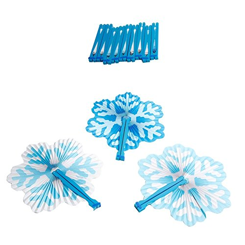 Snowflake Frozen Winter Paper Folding Fans - 12 Pack ()
